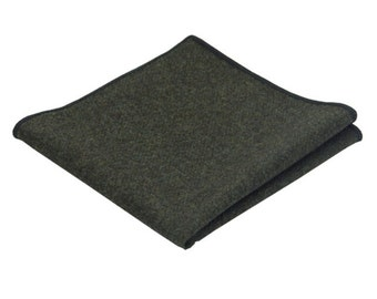 Dark Army Green Wool Pocket Square.Wool Handkerchief.
