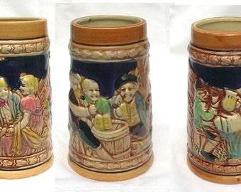 Vintage Flow Blue Beer Mugs Steins Enesco Japan Three