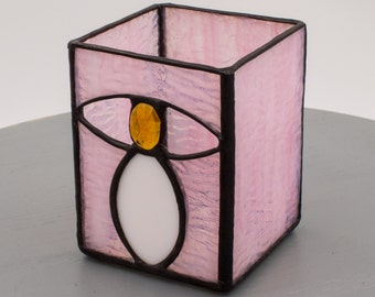 """Pink Birthday Candle Holder Stained Glass """"Ovals"""" by Kolor Waves Glass"""