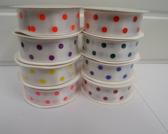 25mm  Polka Dot Satin ribbon, 5 metre Roll spotty White with coloured dots