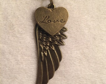 Bronze Love Heart Wing Charm Pendant Cord Necklace