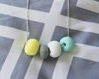 Neon and Pastel Polymer Clay Beaded Necklace
