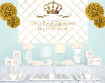 Royal Birthday Bash Personalize Backdrop - Baby Shower Cake Table Backdrop Birthday- Little Prince Birthday Backdrop
