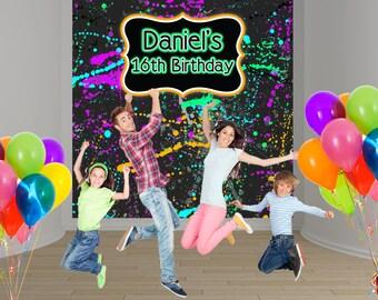 Neon Blast Party Personalized Photo Backdrop - Birthday Party Backdrop, Sweet 16th Photo Backdrop, Printed Backdrop