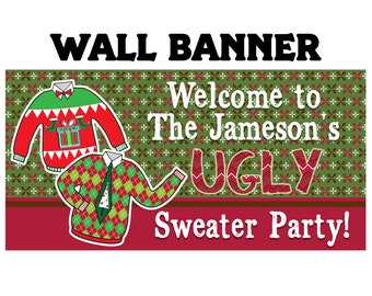Ugly Sweater Party Photo Banner ~ Personalize Party Banners Holiday Party Banner