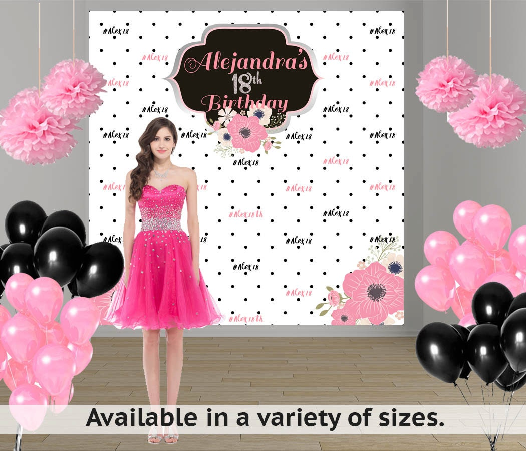 Birthday Chic Party Personalized Photo Backdrop 18th