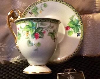 Royal Danube China Teacup & Saucer #1886. Gold gilding with Berries and Leaves. Vintage Footed Demitasse Teacup Set