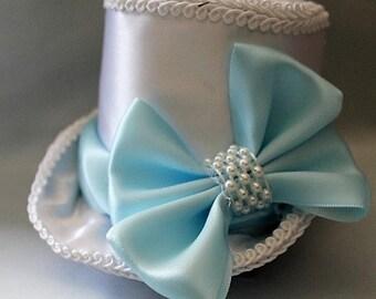 Bridal Wedding Mini Top Hat Fascinator Something Blue