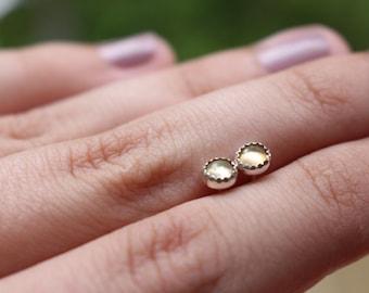 Opal Studs || Small Opal Stud Earrings. Sterling Silver. Studs. Handmade.