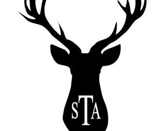 Deer Silhouette Monogram Iron On Transfer