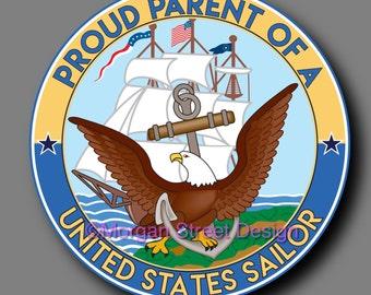 US Navy Sailor Parent Die Cut Vinyl Decal Sticker