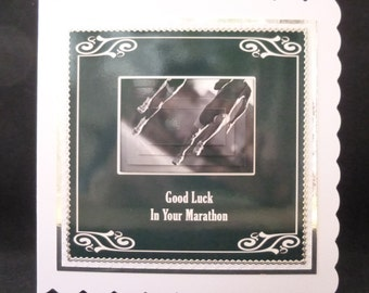 Good Luck In Your Marathon 3d Decoupage Card - 148mm sq Card - Handcrafted in the UK