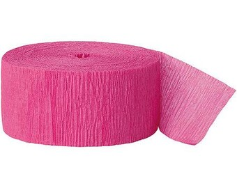 3 Rolls of Hot Pink Crepe Streamer 81' per roll