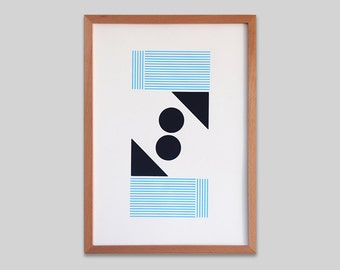 Abstract geometric Screen print (hand pulled) Sky blue and dark blue