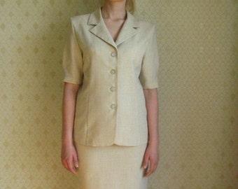 ON SALE Vintage Ladies Business Suit Jacket and Skirt Pattern Summer Womens Tweed Suit Cream White Soviet Era Medium Size