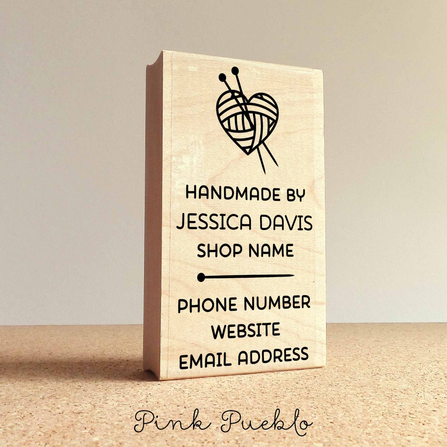 Personalized knitting business card stamp handmade by business 2599 magicingreecefo Image collections