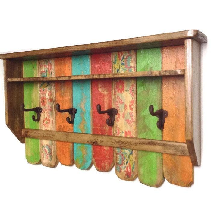 entryway wood shelf coat rack rustic rainbow coat rack. Black Bedroom Furniture Sets. Home Design Ideas