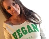 Off the Shoulder Eco Wheat Eco Fleece Sweatshirt - VEGAN For The Love of Animals | FTLA