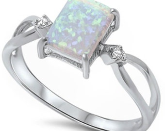 Authentic White Australian Fire Opal and Cz Pure and Solid .925 Sterling Silver Ring Sizes 5-11