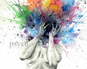 Busy mind, A3 original watercolor work by Psyca
