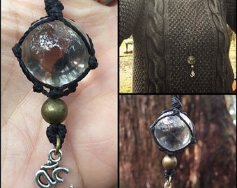 Clear quartz crystal sphere necklace, crystal healing, zen, meditation, reiki