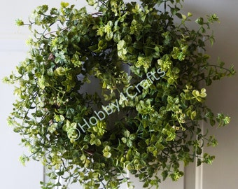 BoxwooWreath 22in, Rustic Woodland Wreath, Outdoor Wreath,Weatherproof Wreath spring decoration,  year round wreath