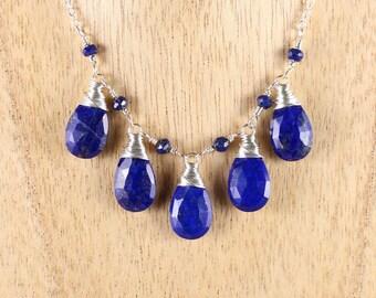 Lapis Lazuli & Sterling Silver Bib Necklace. Blue Gemstone Statement Necklace. Wire Wrapped Artisan Bead Jewelry. Semi Precious Jewellery