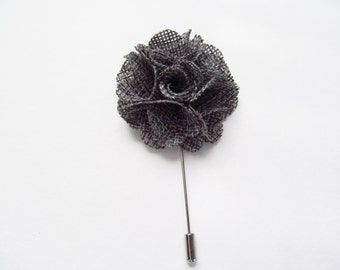 Grey Flower Lapel Pin / Lapel Flower/ Boutonniere / Flower Pin / Groom's Pin / Groom's Flower / Fabric Lapel Pin / SQL - 12