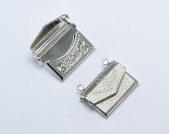10pcs Purse Lockets in Silver Tone, Handbag Lockets, Vintage Locket, Message Lockets, Secret Compartment, Locket Supplies #SD-S6933
