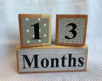 Milestone Blocks for Baby and Pregnancy: Beige and Grey, Maternity Photo Prop - Wooden Age Blocks - Baby Age Blocks - Baby Photo Prop