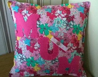 MUM cushion  cover ..Felt letters  16 inch