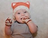 Baby Fox Hat & Mittens Knitting Pattern