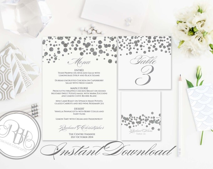 Silver Sparkle Menu, Table Number, Place Card Templates-INSTANT DOWNLOAD-DIY Editable Text-Silver Sparkle Pola Dots-Elizabeth Table Package