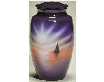 Sunset Sail Hand Painted Urn