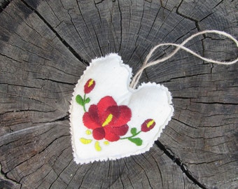 fabric heart Decorations, home decorations, hungarian embroidery heart, folk heart, hungarian heart, ethnic heart, eco friendly