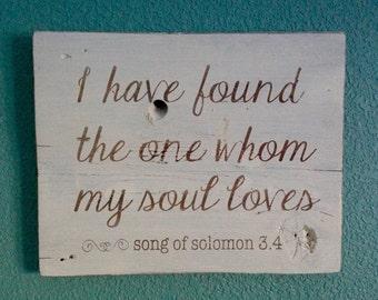Song of Solomon 3:4, Rustic Barn Board Decor