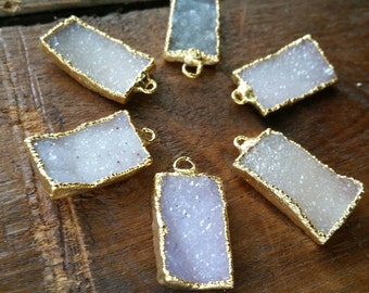 Rectangular Druzy 12mm to 25mm. 22k gold edged #1004