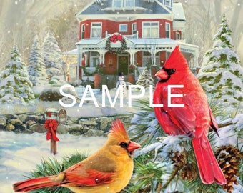 Fabric Art Quilt Block  *Christmas Cardinals* 16-081 FREE SHIPPING