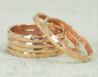 Thick Stackable Bronze Ring(s), Bronze Rings, Stackable Rings, Bronze Ring, Hammered Ring, Bronze Band, Arthritis Ring, Bronze Jewelry