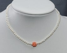 Birthstone June, Organic jewelry,  Seed Pearls with carved coral rose, Birthday Present, bridesmaid, girlfriend, sister,