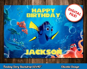 "Finding Dory Backdrop 60x40""-Finding Dory Birthday Party Backdrop-Finding Dory Digital Printable Backdrop-DIY Backdrop-Finding Dory Party"