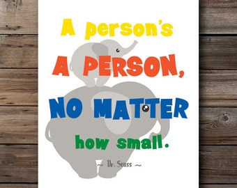 A persons a person no matter how small primary colors nursery kids room playroom dr seuss quote wall art printable digital instant download
