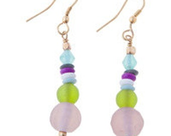 Asha Glass Multi Colored Metal Earrings