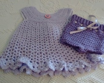 Baby Dress-Lavender-0 to 9 months Crochet- with Diaper cover-Photo Prop-Dressy Baby Dress