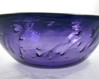 Texture Bowl, hand blown and sculpted glass bowl, golden, purple, colorful, translucent, optics, shadows, texture, gifts