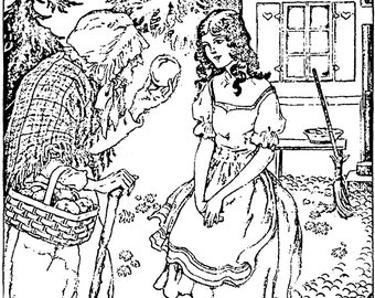 Vintage fairy tale Illustration, coloring book page