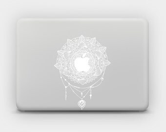 Transparent White Ink Sticker Decal for MacBook or Laptop - Mandala 3