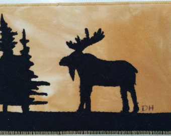 Marshy Moose Quilted postcard mini art quilt fabric postcard Fredericton New Brunswick Darcy Doodle Quilts forever card frame able art