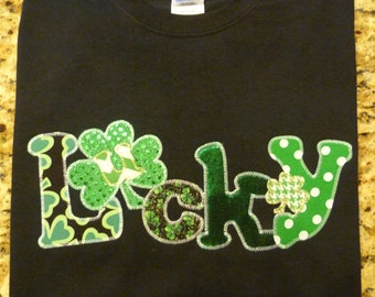 St. Patricks Day Appliqued T-Shirt Blingy Letters Shamrocks  Holiday Sparkle