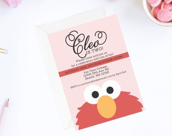 Elmo Invitation | Pink Elmo Invite | Elmo Birthday Party Invitation | Sesame Street Invitation | Sesame Street Birthday Party